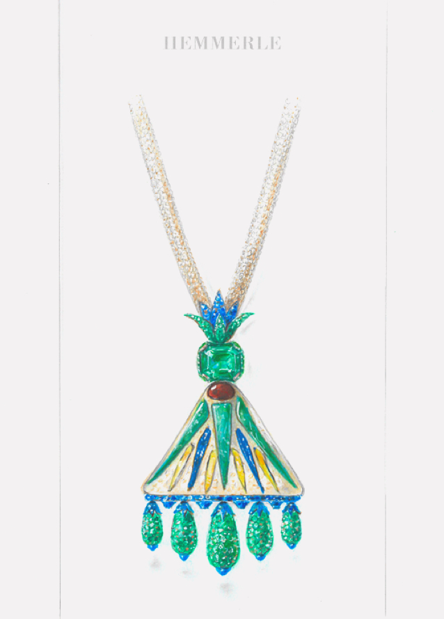 Sketch - Hemmerle Ancient Egyptian Faience Necklace.