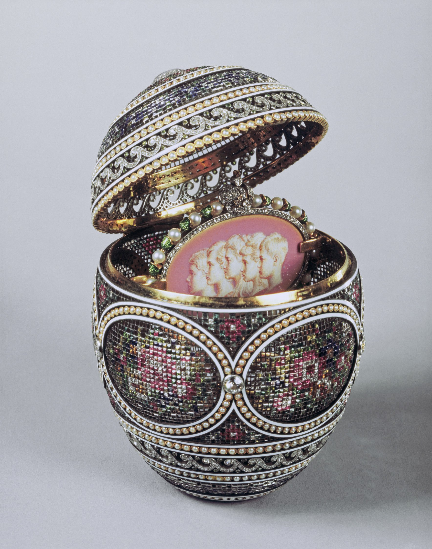Faberge Mosaic Egg with Surprise Royal Collection