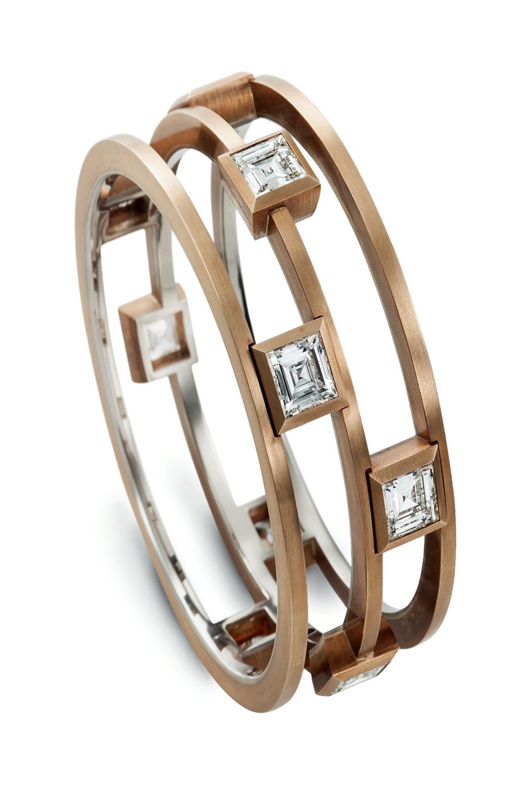 Hemmerle Bangle: Diamonds, Bronze, White Gold.