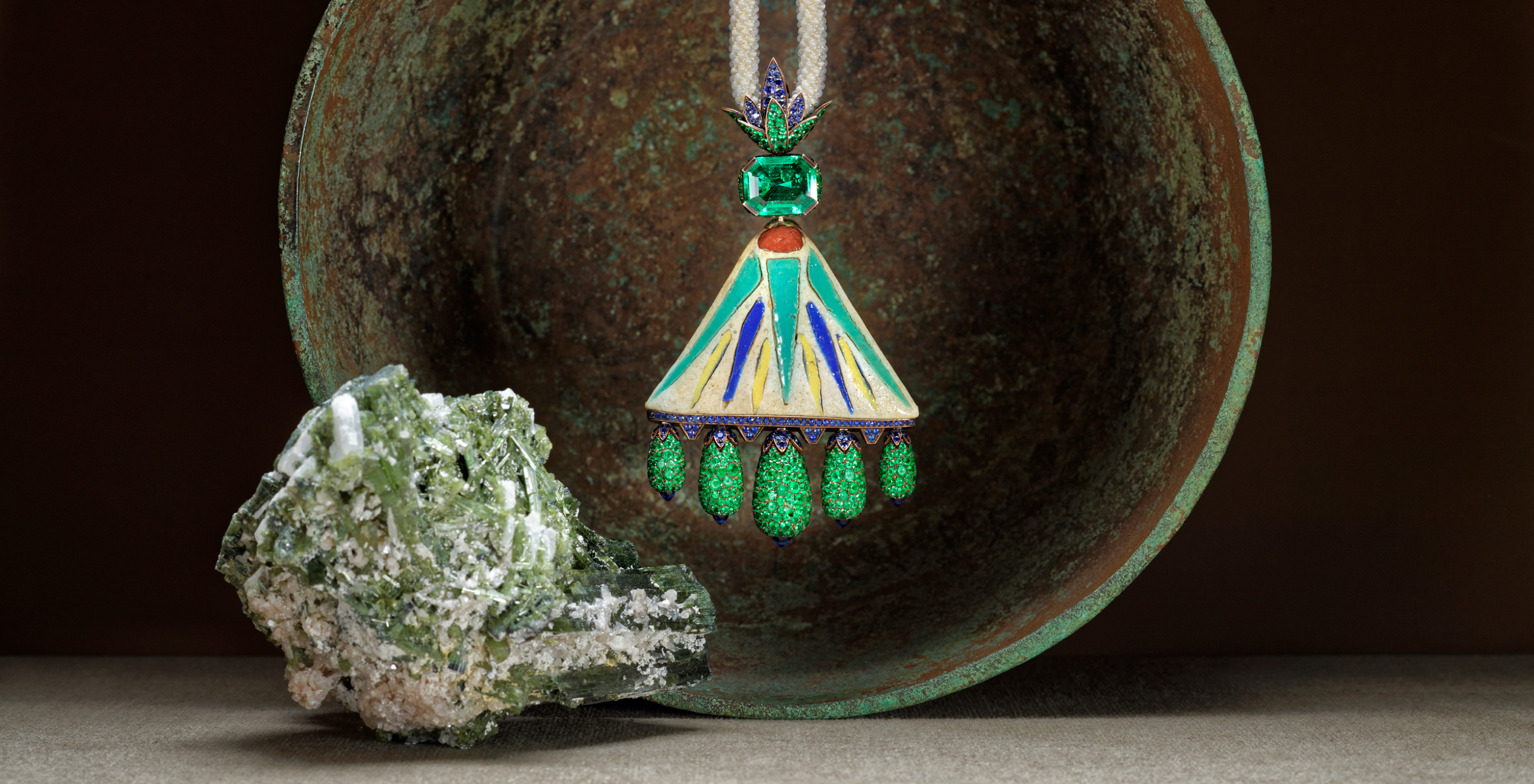 Hemmerle Necklace: Faience, Emerald, Sapphire, Agate, Bronze, White Gold.