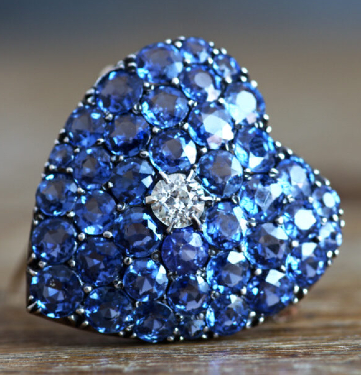 Victorian Sapphire Brooch Pendant Front