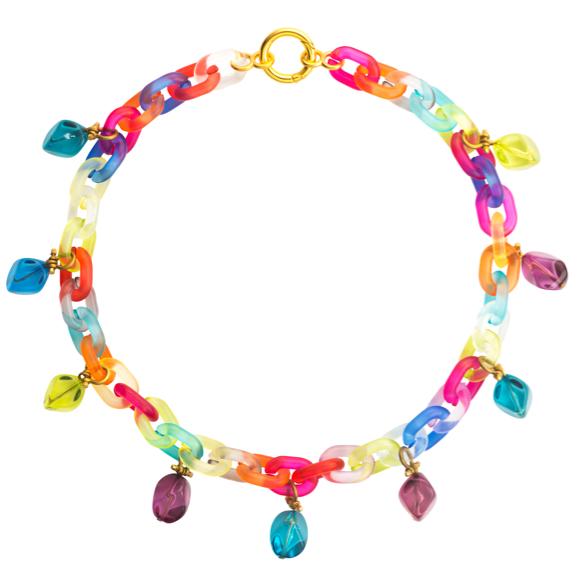 Plastic Fantastic Collection multicoloured chain and stone lucite necklace