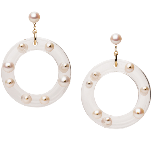 Plastic Fantastic Collection Pearl and Lucite Earring Hoops