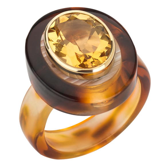 Plastic Fantastic Collection tortoise shell lucite citrine ring