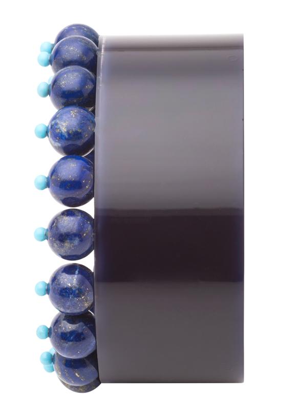 Plastic Fantastic Collection lucite lapis turquoise bead cuff
