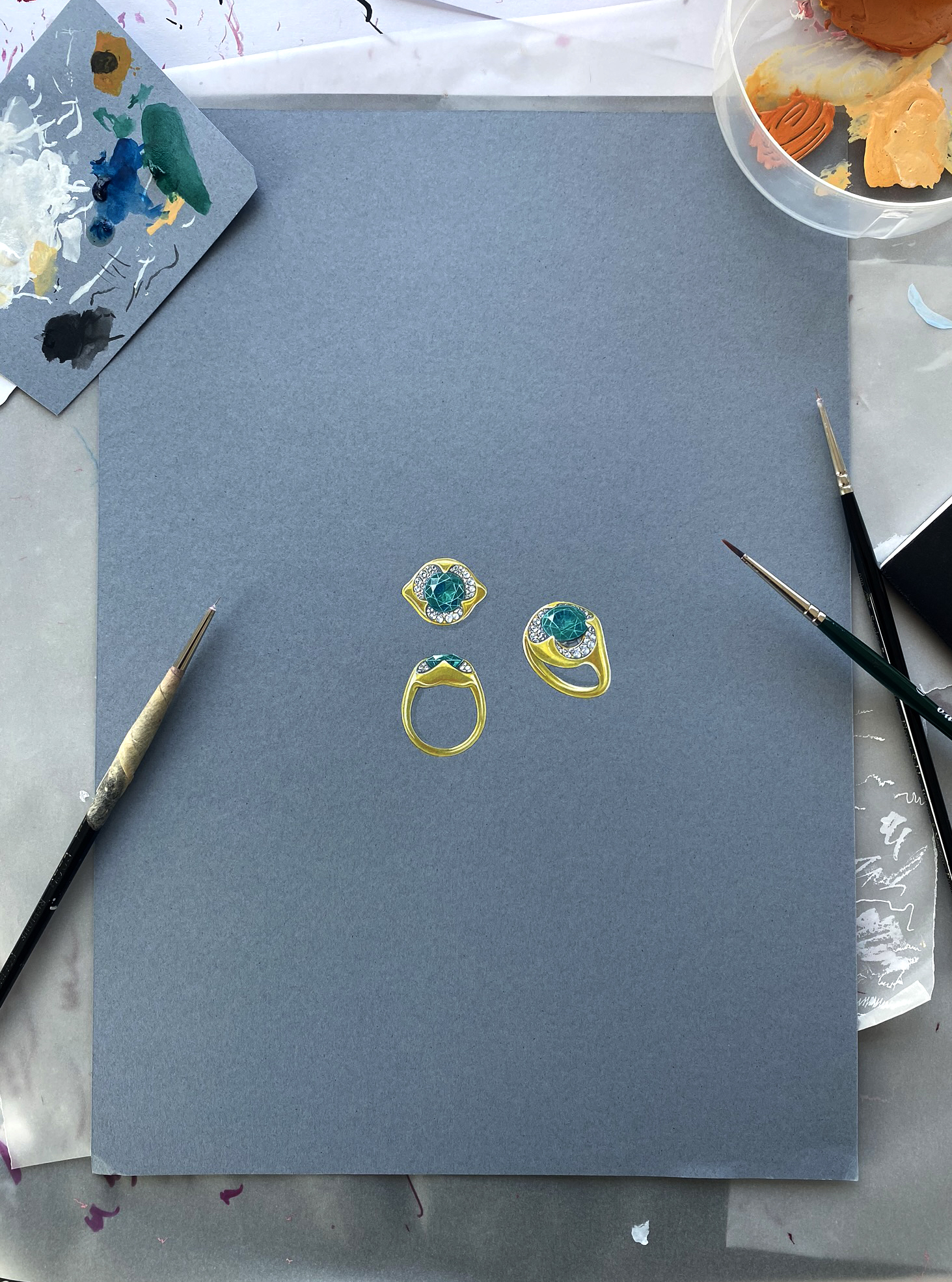 Lily Gabriella Jewellery Gouache with paint brushes