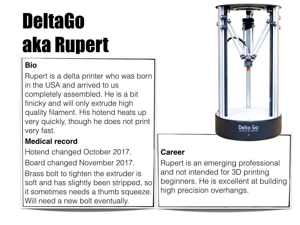 3D Printer DeltaGO aka Rupert - bio