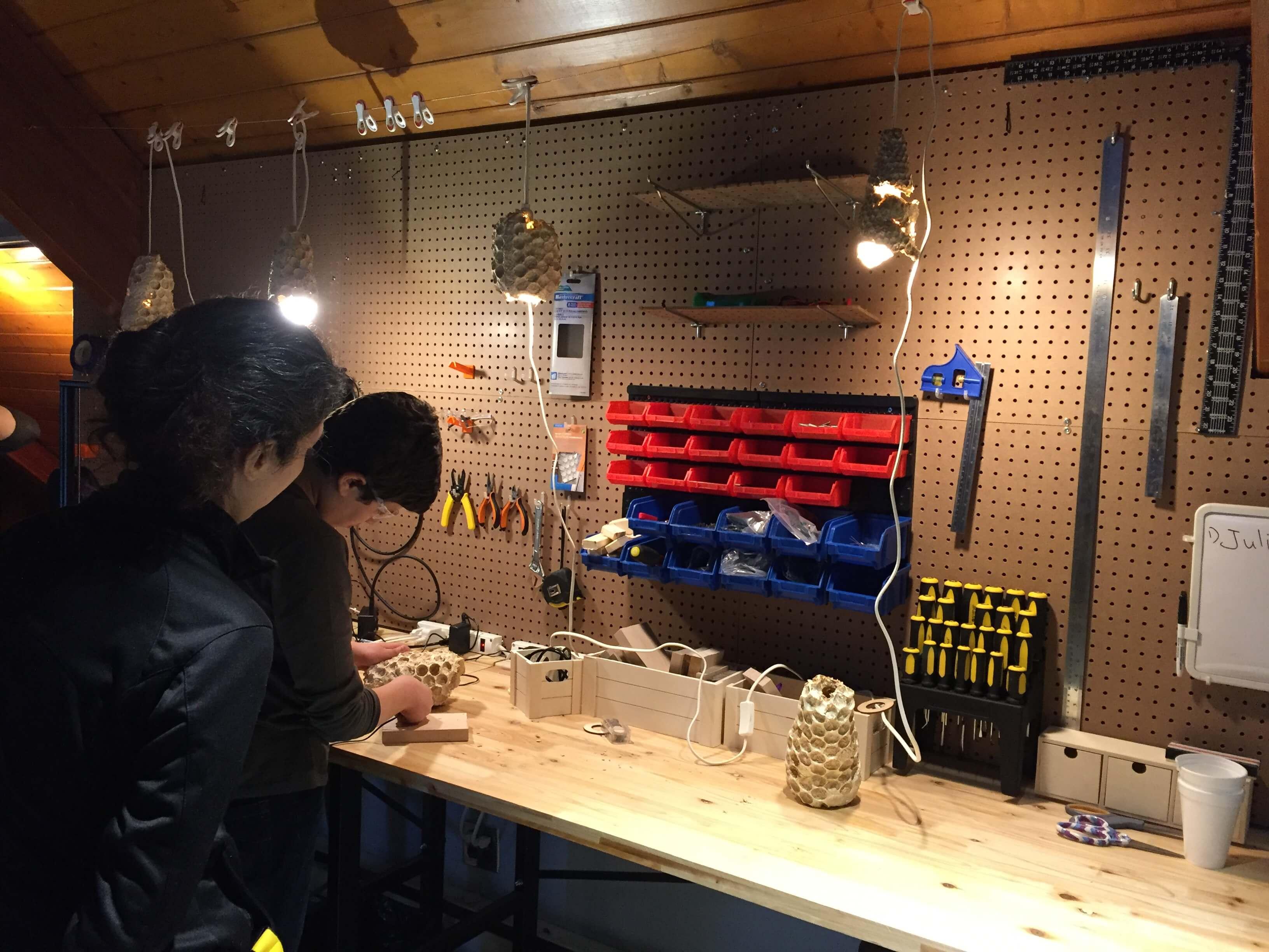 Mycelium lampshades being adjusted