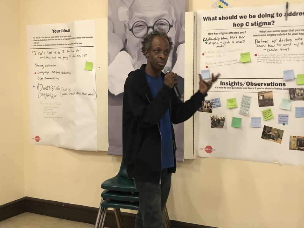 Glide Community Navigator Orin leads a discussion that will help form strategic planning at End Hep C SF's October 2019 Community Meeting. Photo by Joanne Kay.