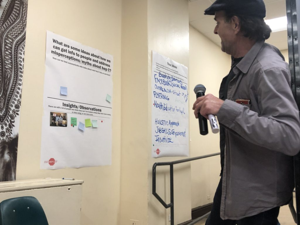 Glide Community Navigator Randy leads a discussion that will help form strategic planning at End Hep C SF's October 2019 Community Meeting. Photo by Perry Rhodes III.