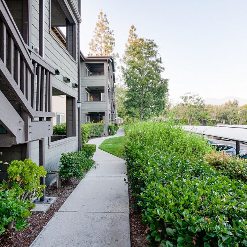 Side view of apartments with pathways and plants