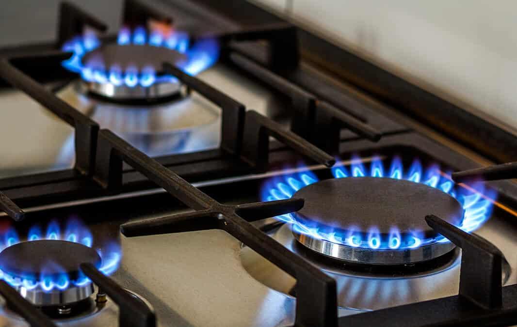 lit up stove range