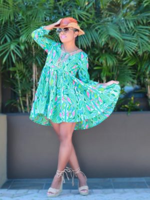 Go With the Flow | Green & Pink Embroidered Tunic Mini Dress