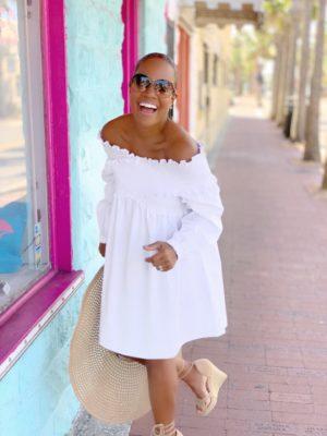 Baby Dollin' | White Cotton Off Shoulder Dress