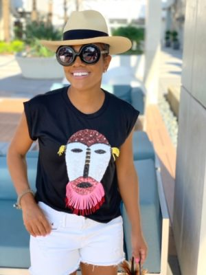 Face It | Sequins Mask Muscle Tee