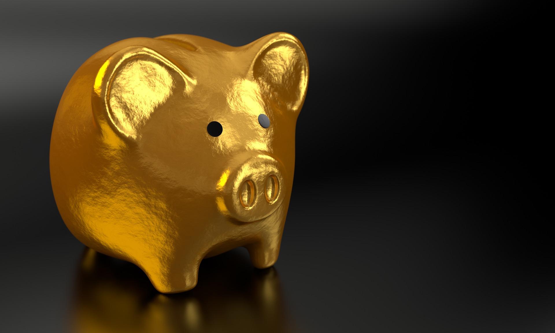 Gold Piggy Bank Savings