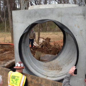 Large Cast A Seal in concrete monobend