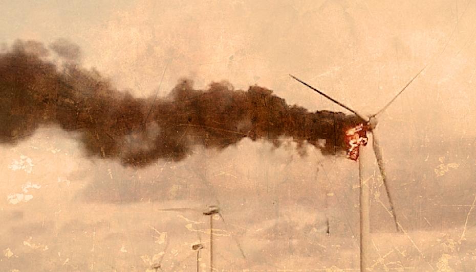 wind turbine on fire