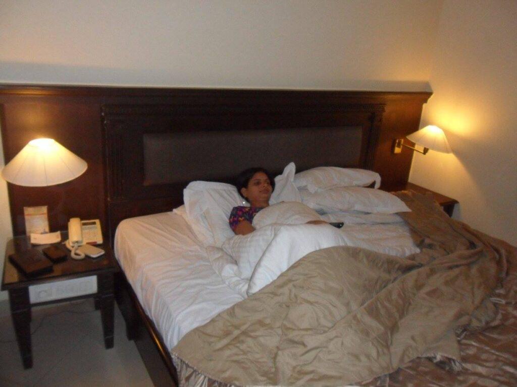 Sangeeta Pandey Alok Pandey wife sleeping in bed.