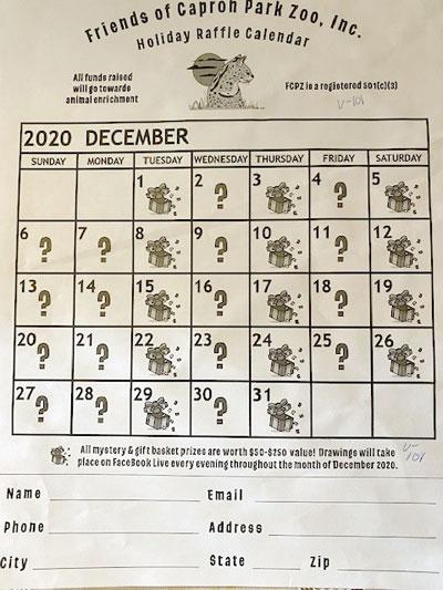 Holiday Raffle Calendar