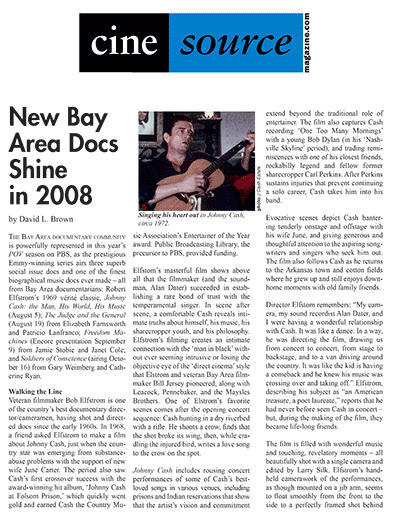 Cine Source Bay Area Docs Shine 2008, by David L. Brown