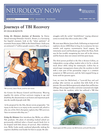 Neurology Now Journeys of TBI Recovery