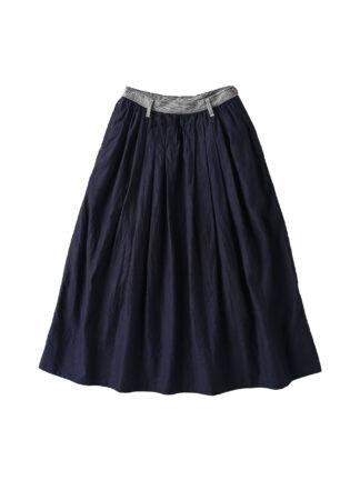 Indigo Awa Cotton Satin Tuck Skirt