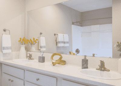 Large dual bathroom vanity and white quartz counter