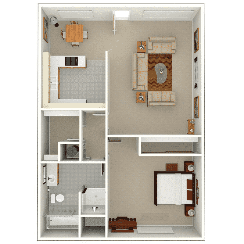 1 bed 1 bath apartment floor plan