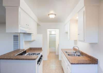 kitchen with white cabinets and light brown counters
