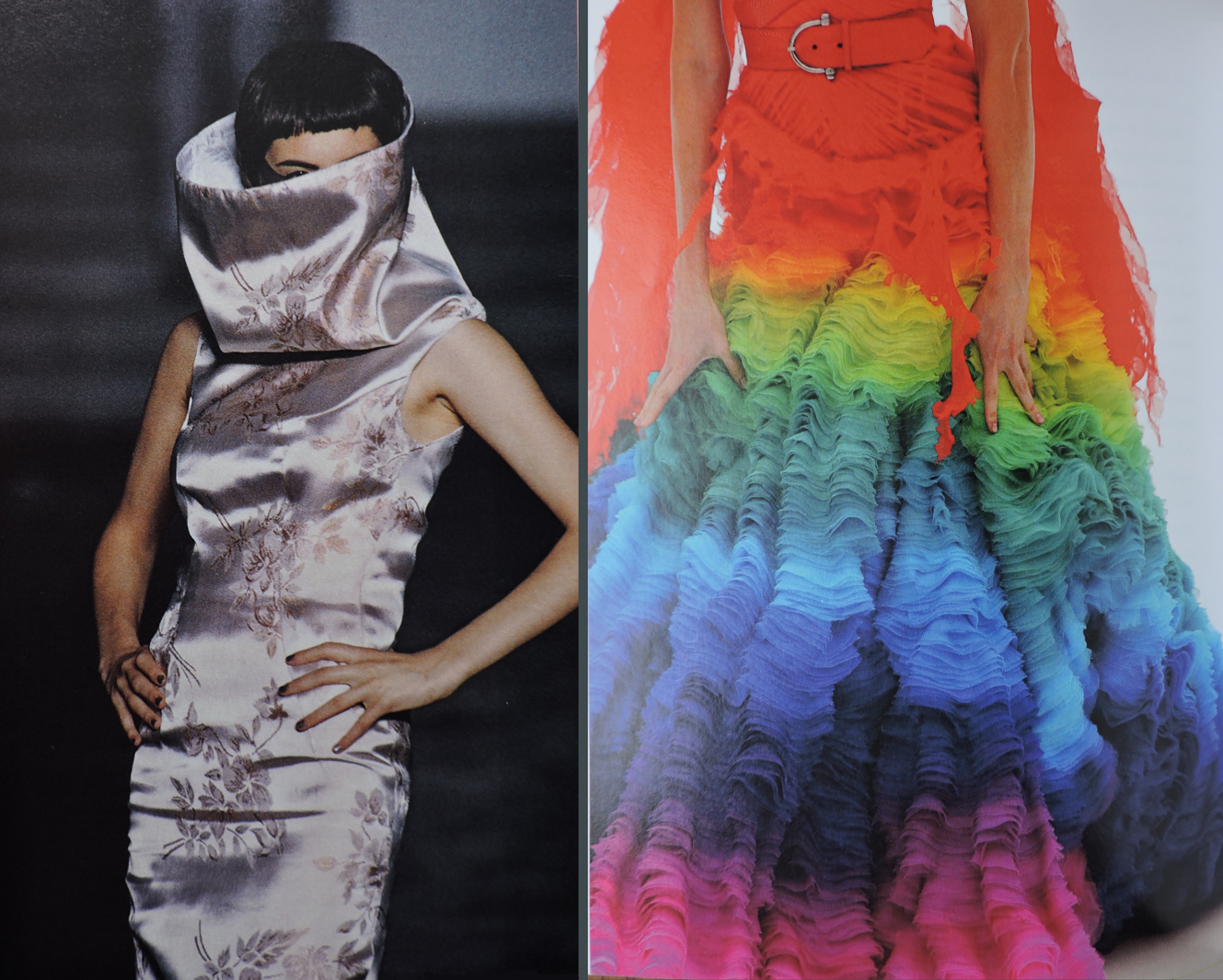 """Collar and color. On the left: funnel necked dress, """"Bellmer la Poupée,"""" SS 1997. On the right: detail, silk chiffon rainbow dress, """"Irere,"""" SS 2003"""