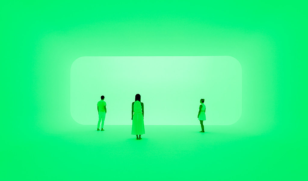 Artist James Turrell uses colour to transform our experience of space. 'Virtuality squared' 2014