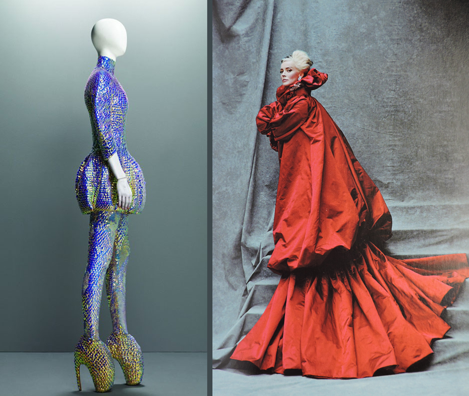 """Jellyfish and fairy-tale. On the left, McQueen's """"jellyfish dress"""" from Plato's Atlantis, S/S 2010. On the right, Daphne Guiness wearing a red silk coat pleated at the cuff from :The Girl who Lived in the Tree"""" collection, F/ W, 2008-09, photo by Michael Roberts for Vanity Fair."""