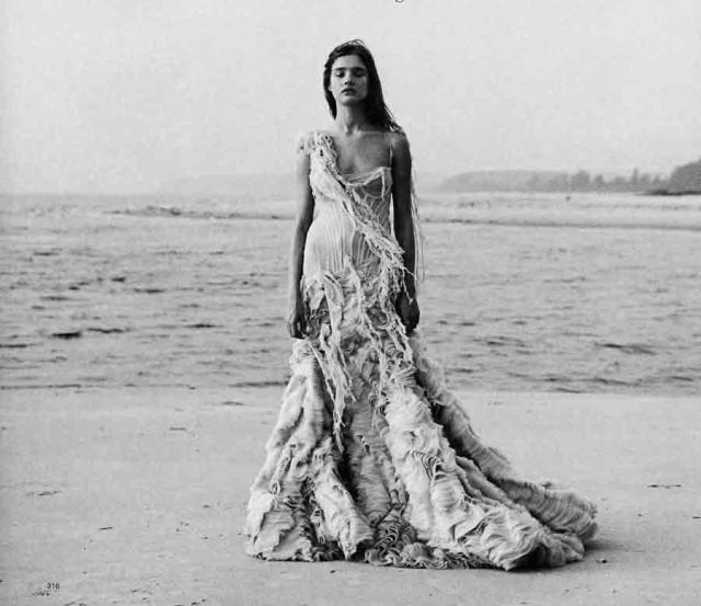 Model Natalia Vodianova in the Oyster dress from Alexander McQueen's 2003 Spring:Summer collection 'Irere.' Photo by Peter Lindbergh