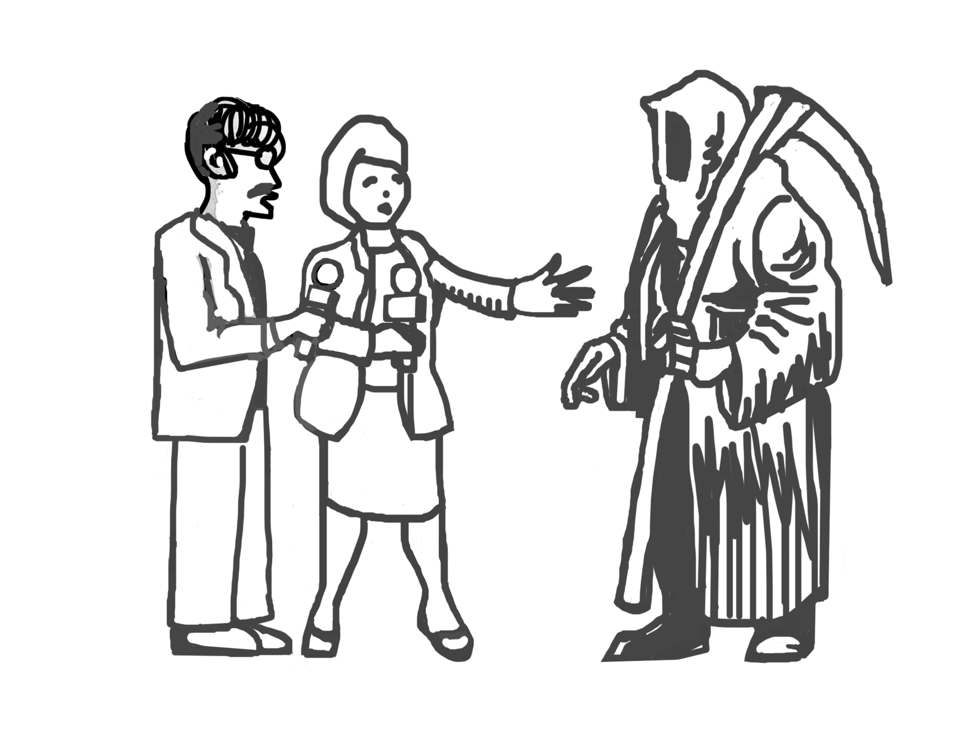 Interview with Death, cartoon by Ed McKean, 2016