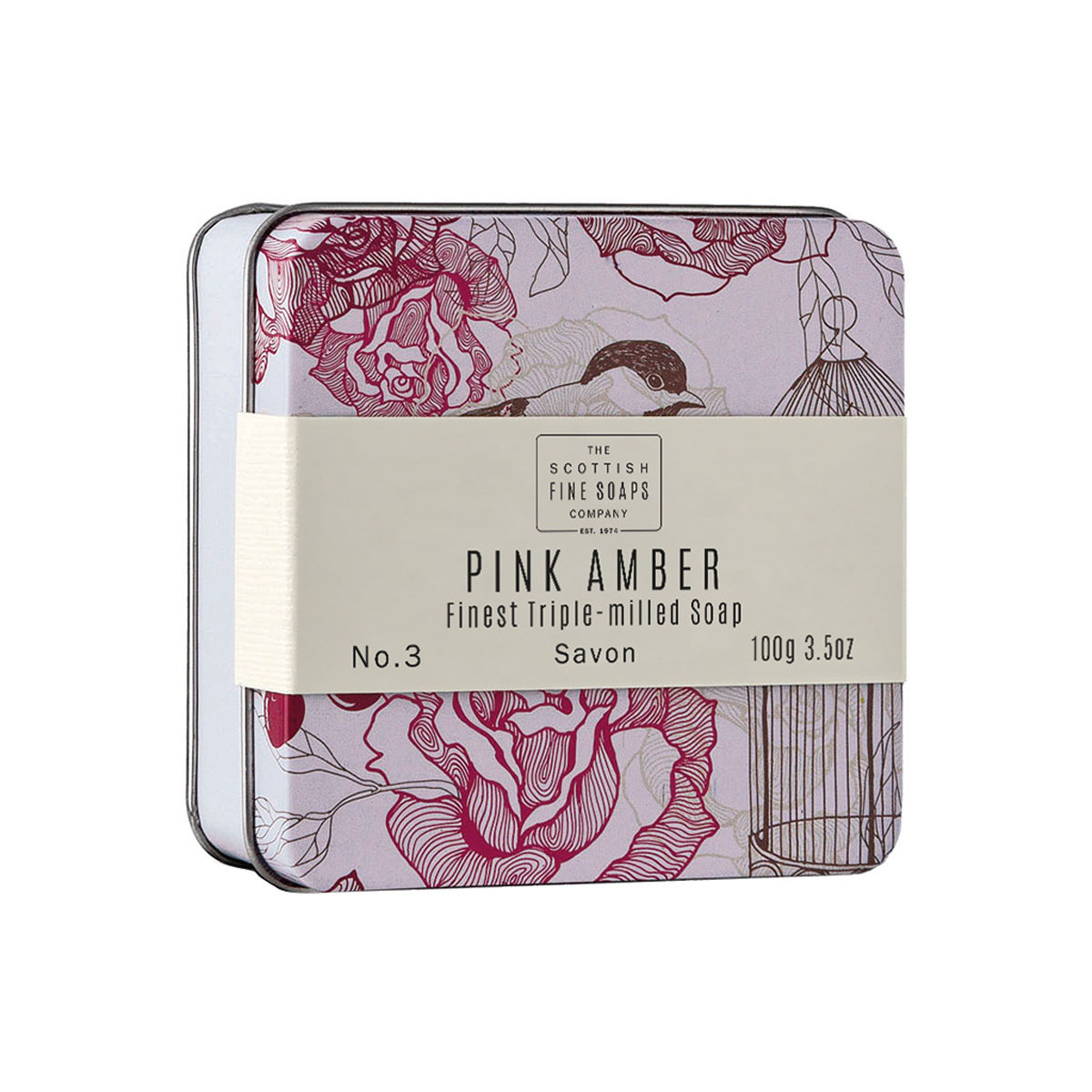 Pink Amber Soap In A Tin – Vintage Collection