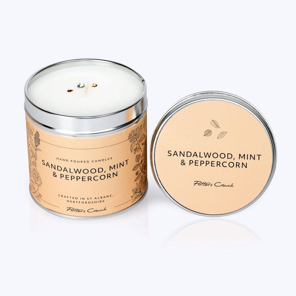 Sandalwood, Mint & Peppercorn Wellness Candle - For Mental Strength