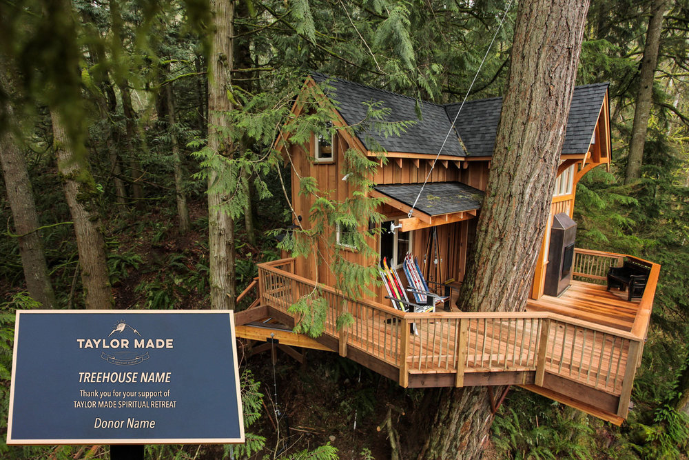Taylor Made Addiction recovery on site tree house for sponsorship