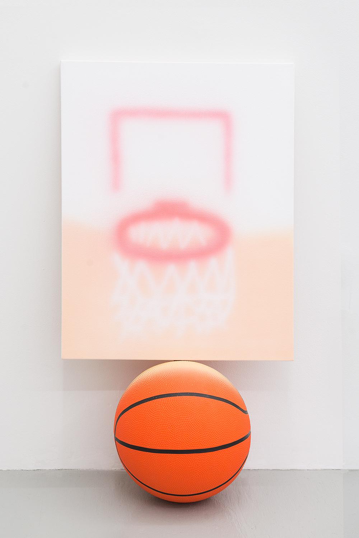 Jonny Paul Gillette goal on basketball ball, 2015 Acrylic polymer on canvas, basketball ball