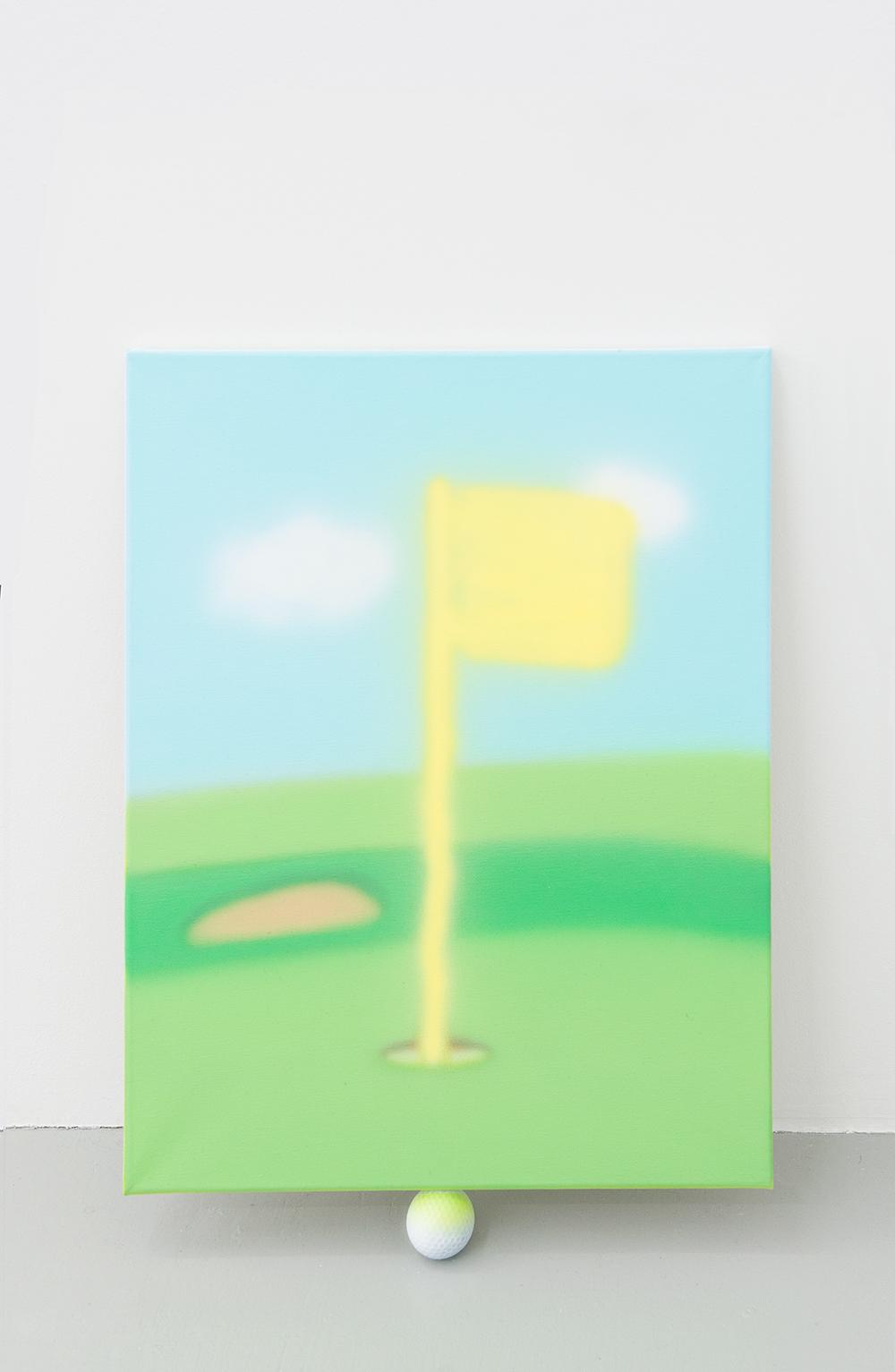 Jonny Paul Gillette goal on golf ball, 2015 Acrylic polymer on canvas, golf ball  2015