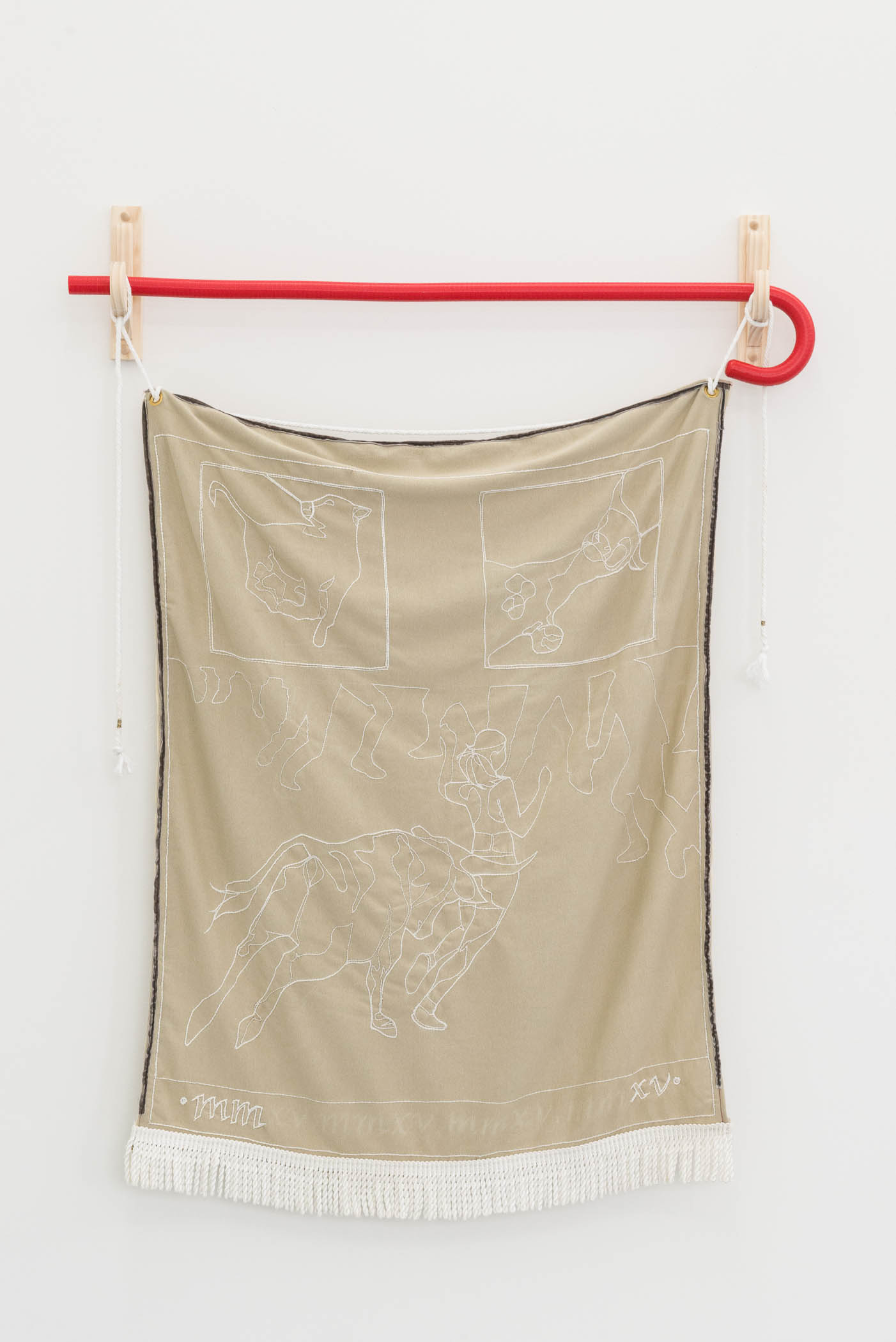 Rebecca Peel To know the speed of danger?, 2015 Polyester, cotton, wood, brass, ultra-high molecular weight polymer