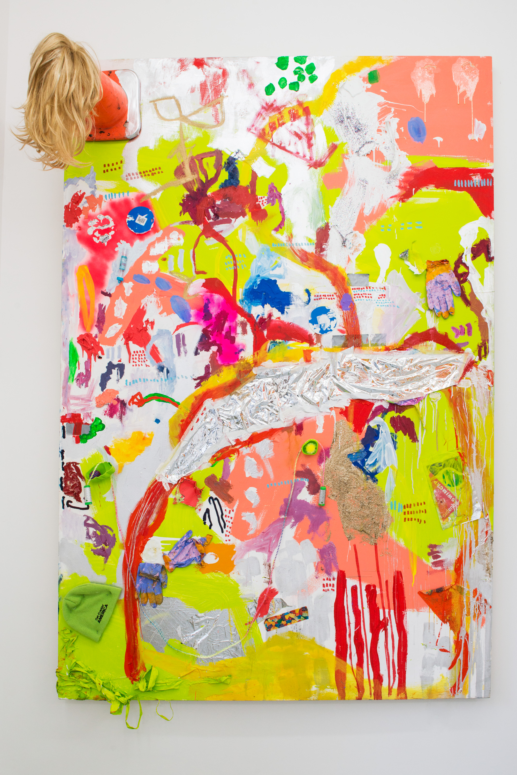 Hannah Beerman my friend's pug named jezebel, 2015 House paint, acrylic, oil, car paint, cat toys, space blanket, traffic cone, wig