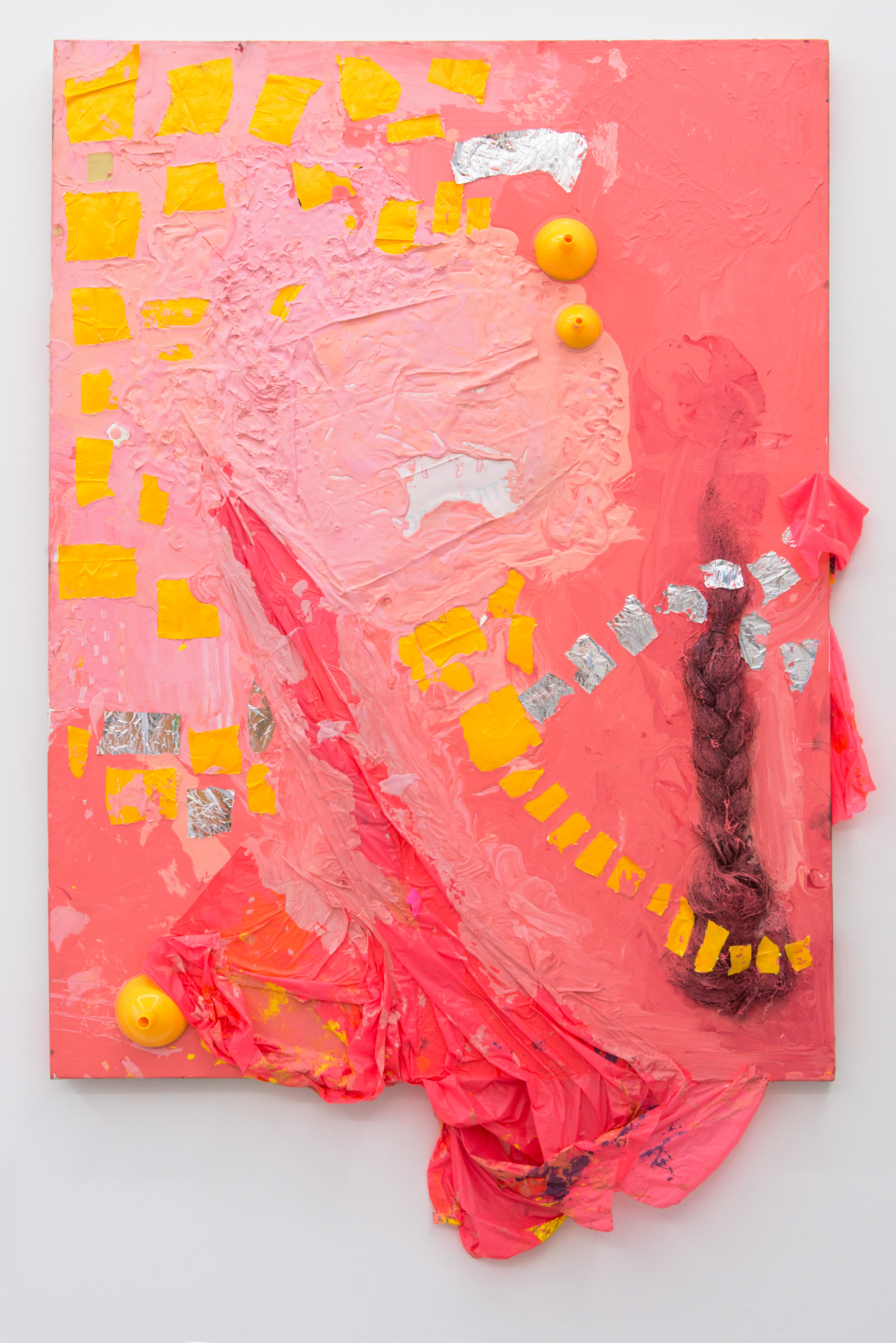 Hannah Beerman pink one, 2015 House paint, poncho, wig, funnels