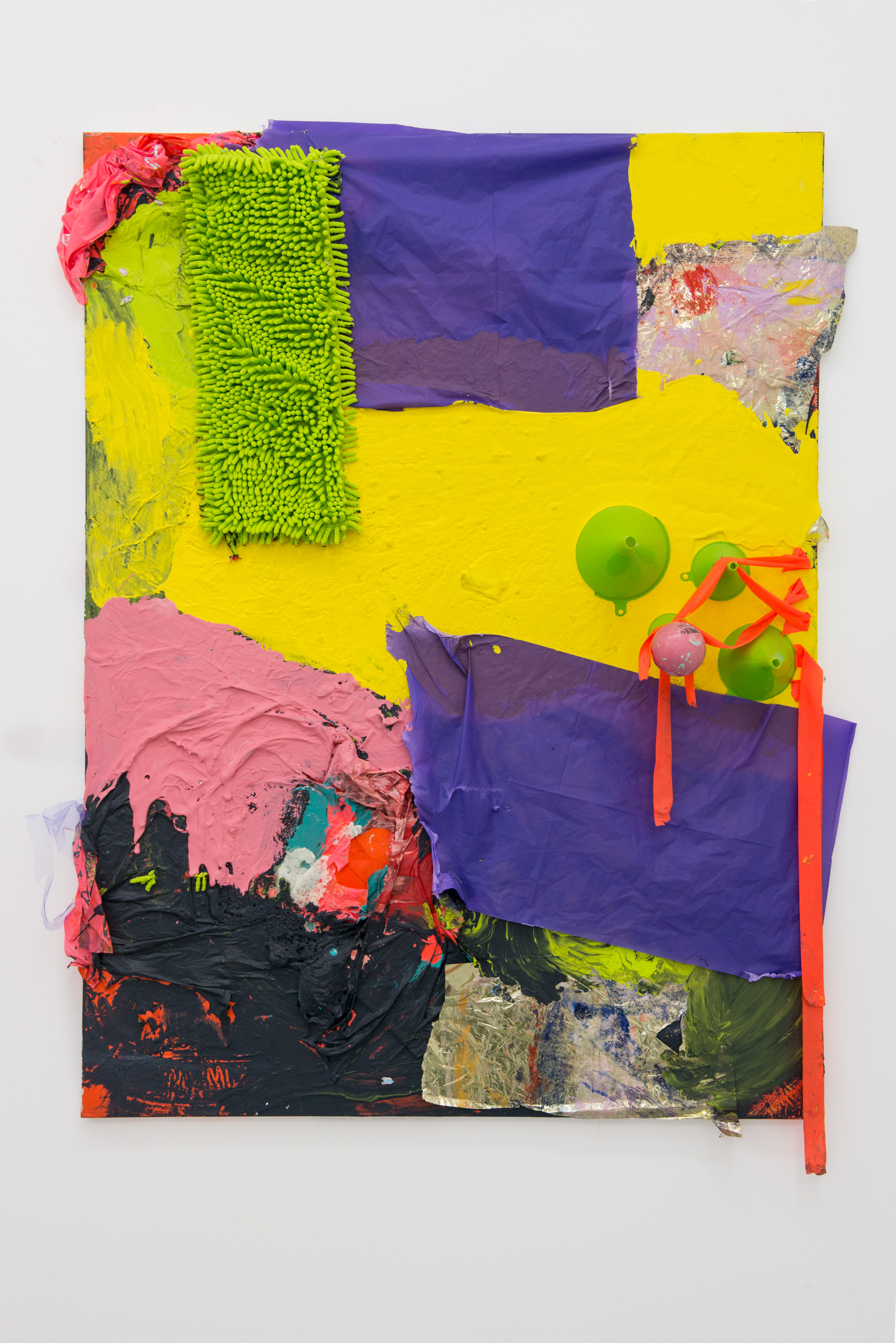 Hannah Beerman green shag, 2015  Mylar wrapping paper, acrylic paint, house paint, found materials, glass beads