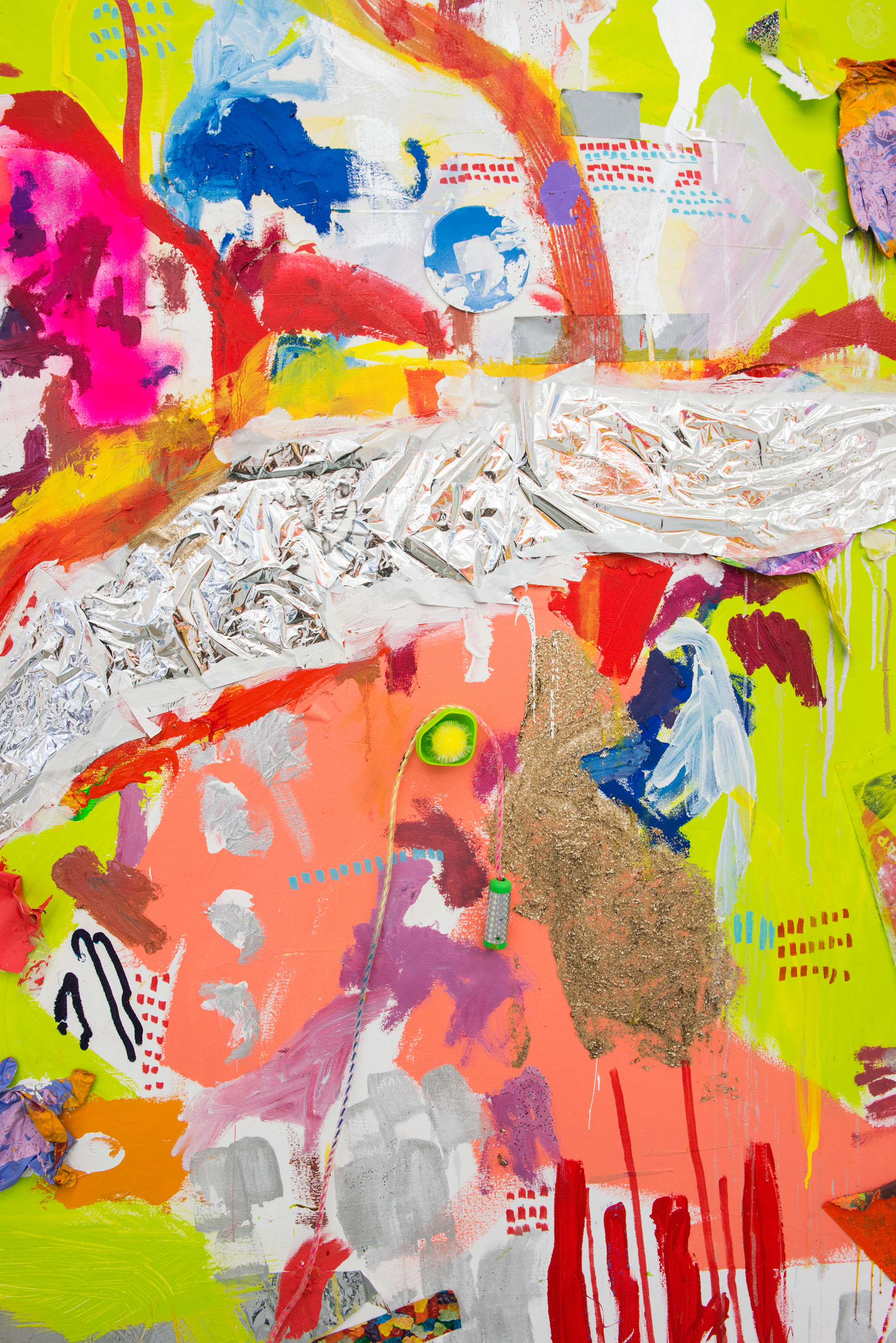Hannah Beerman my friend's pug named jezebel (Detail), 2015 House paint, acrylic, oil, car paint, cat toys, space blanket, traffic cone, wig