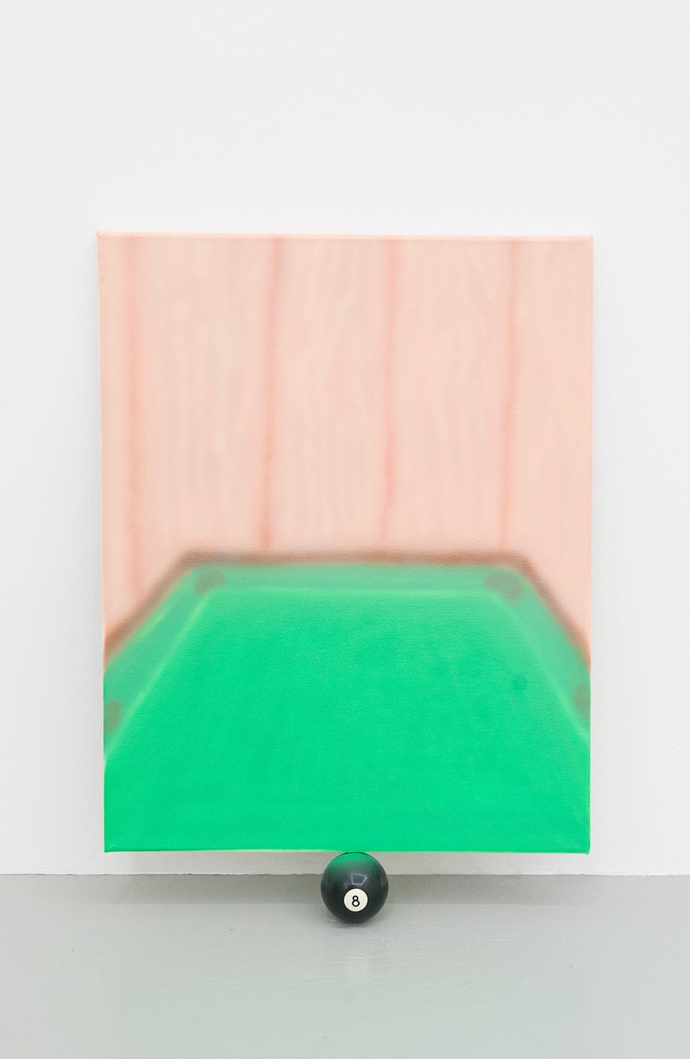 Jonny Paul Gillette goal on pool ball, 2015 Acrylic polymer on canvas, eight ball