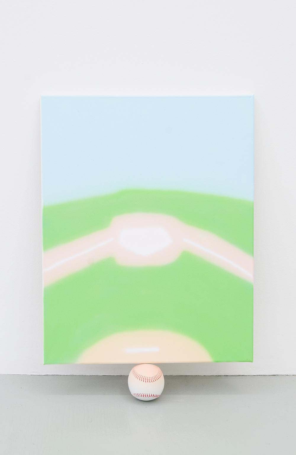 Jonny Paul Gillette Goal on baseball ball Acrylic polymer on canvas, baseball ball