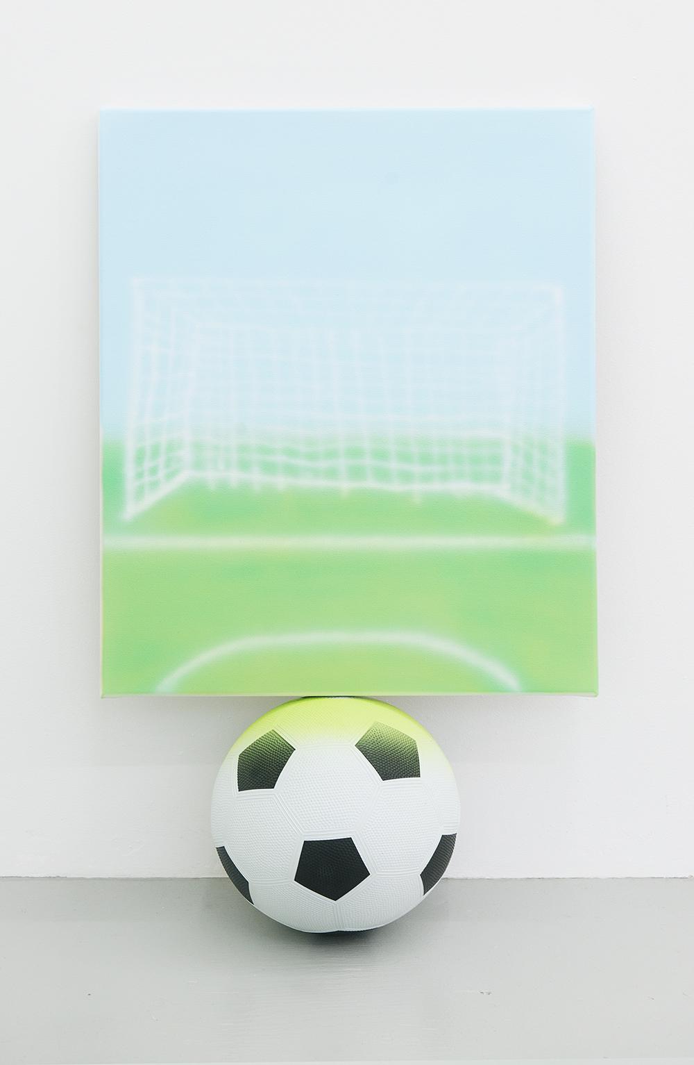 Jonny Paul Gillette Goal on soccer ball, 2015 Acrylic polymer on canvas, soccer ball