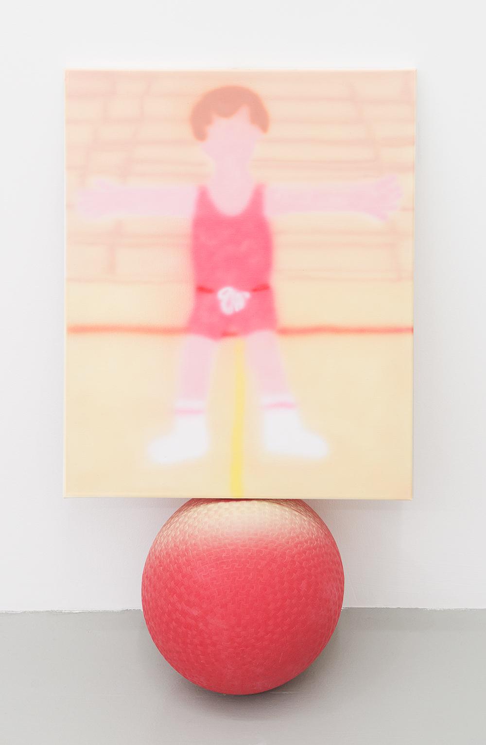 Jonny Paul Gillette goal on dodgeball ball, 2015 Acrylic polymer on canvas, dodgeball ball