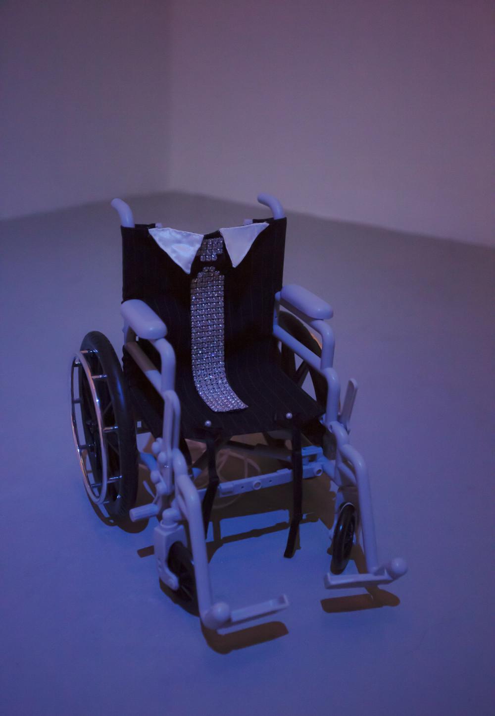 Flannery Silva American Girl Bodice, 2015 American Girl Doll wheelchair, pinstripe fabric, lace grommet trim, ribbon, rhinestones, bows, mini bra straps